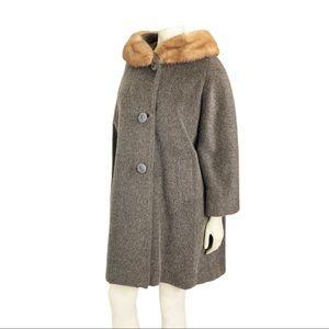 Vintage wool and mink fur swing coat grey brown